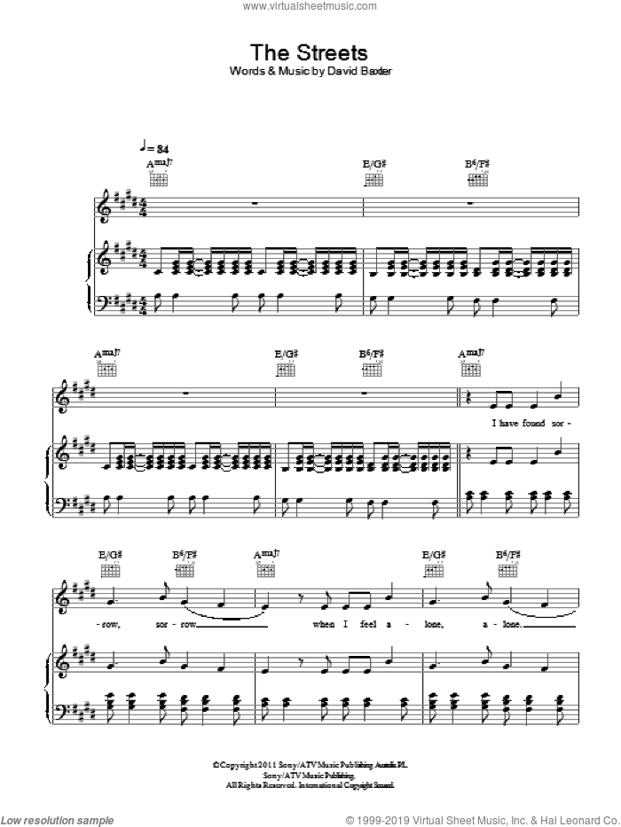 The Streets sheet music for voice, piano or guitar by Avalanche City, intermediate. Score Image Preview.