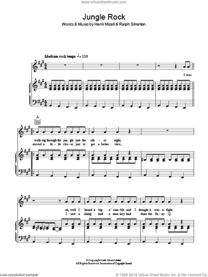 Jungle Rock sheet music for voice, piano or guitar by Hank Mizell and Ralph Simonton, intermediate skill level