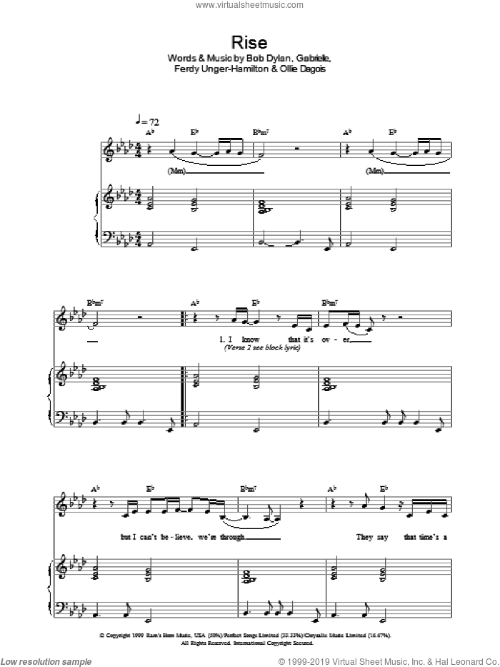 Rise sheet music for voice, piano or guitar by Ollie Dagois, Bob Dylan and Gabrielle. Score Image Preview.