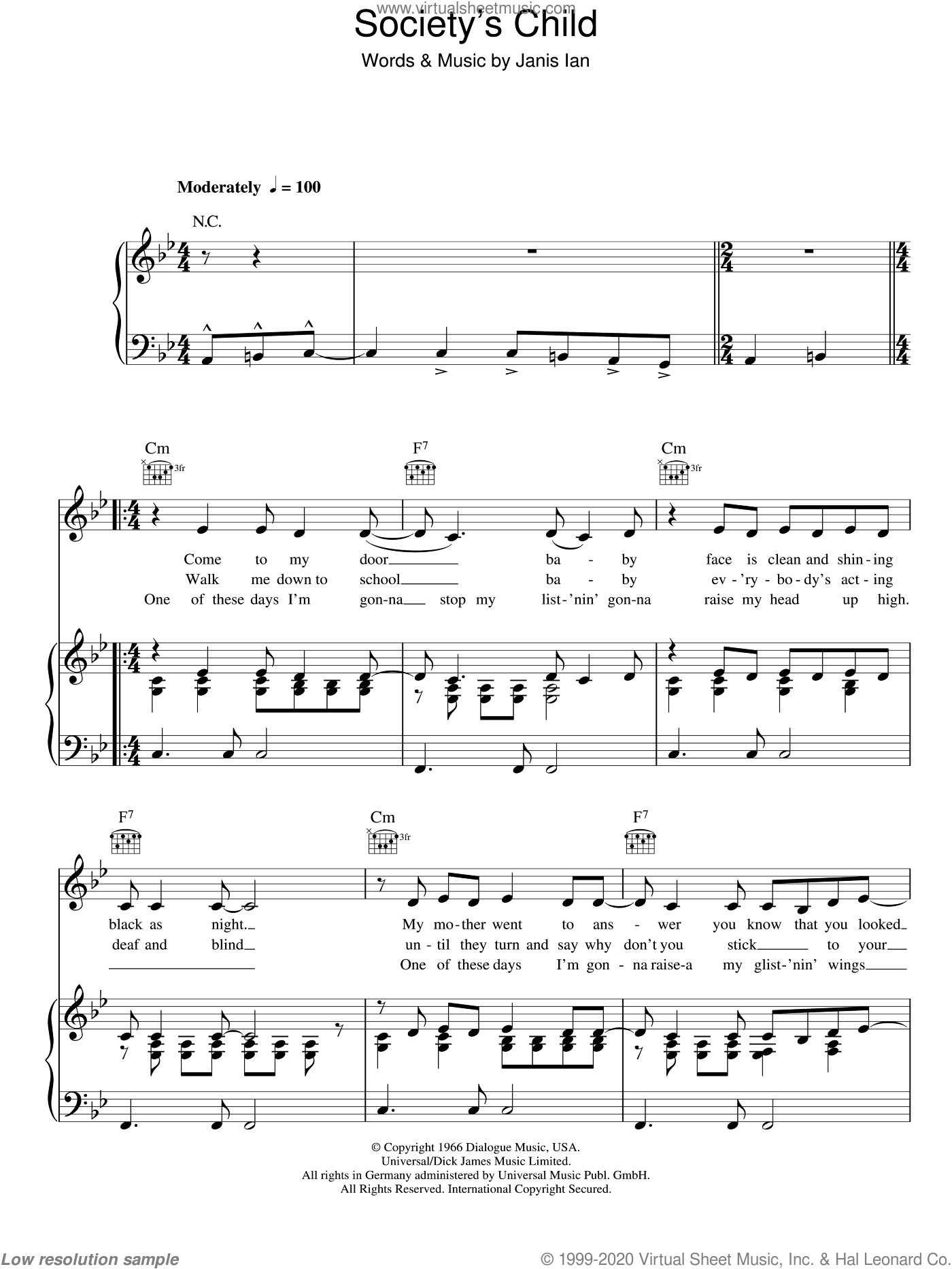 Society's Child sheet music for voice, piano or guitar by Janis Ian, intermediate voice, piano or guitar. Score Image Preview.