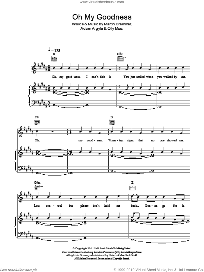 Oh My Goodness sheet music for voice, piano or guitar by Martin Brammer