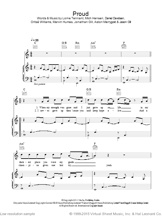 Proud sheet music for voice, piano or guitar by Oritse Williams