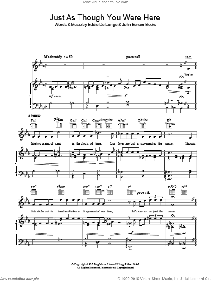 Just As Though You Were Here sheet music for voice, piano or guitar by John Benson Brooks, Tommy Dorsey and Eddie DeLange. Score Image Preview.