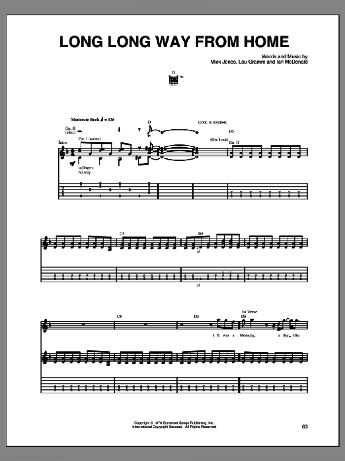 Long Long Way From Home sheet music for guitar (tablature) by Foreigner, Ian McDonald, Lou Gramm and Mick Jones, intermediate skill level