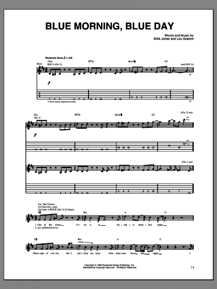 Blue Morning, Blue Day sheet music for guitar (tablature) by Foreigner, Lou Gramm and Mick Jones, intermediate skill level