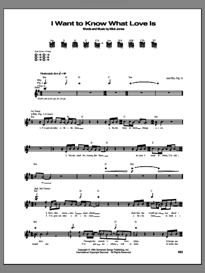 I Want To Know What Love Is sheet music for guitar (tablature) by Foreigner and Mick Jones, intermediate skill level