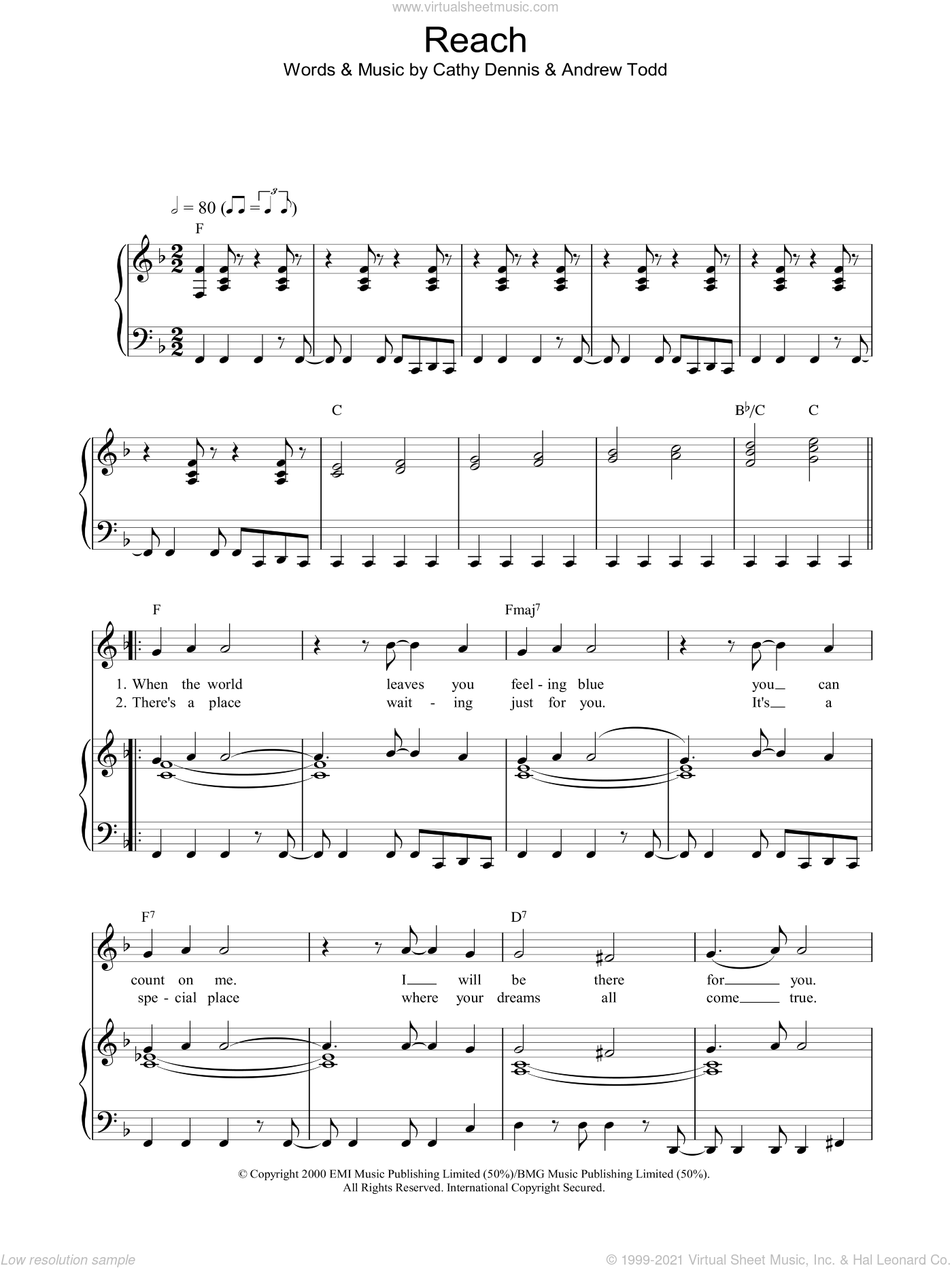 Reach sheet music for voice, piano or guitar by Cathy Dennis and S Club 7