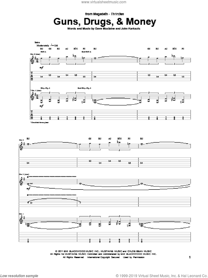 Guns, Drugs, and Money sheet music for guitar (tablature) by John Karkazis, Megadeth and Dave Mustaine. Score Image Preview.