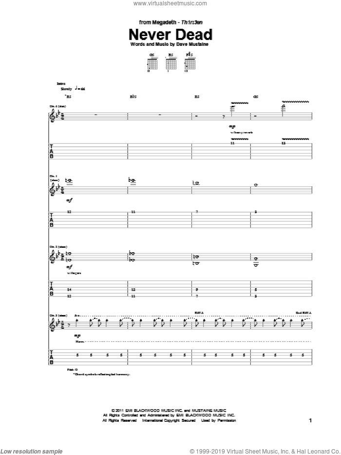 Never Dead sheet music for guitar (tablature) by Megadeth. Score Image Preview.