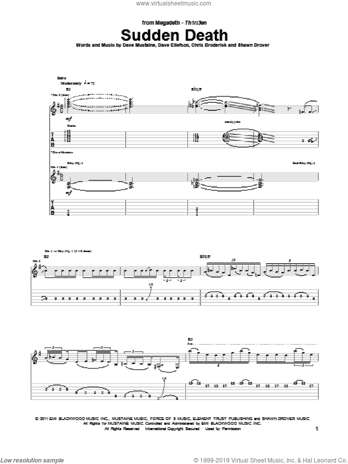 Sudden Death sheet music for guitar (tablature) by Megadeth. Score Image Preview.