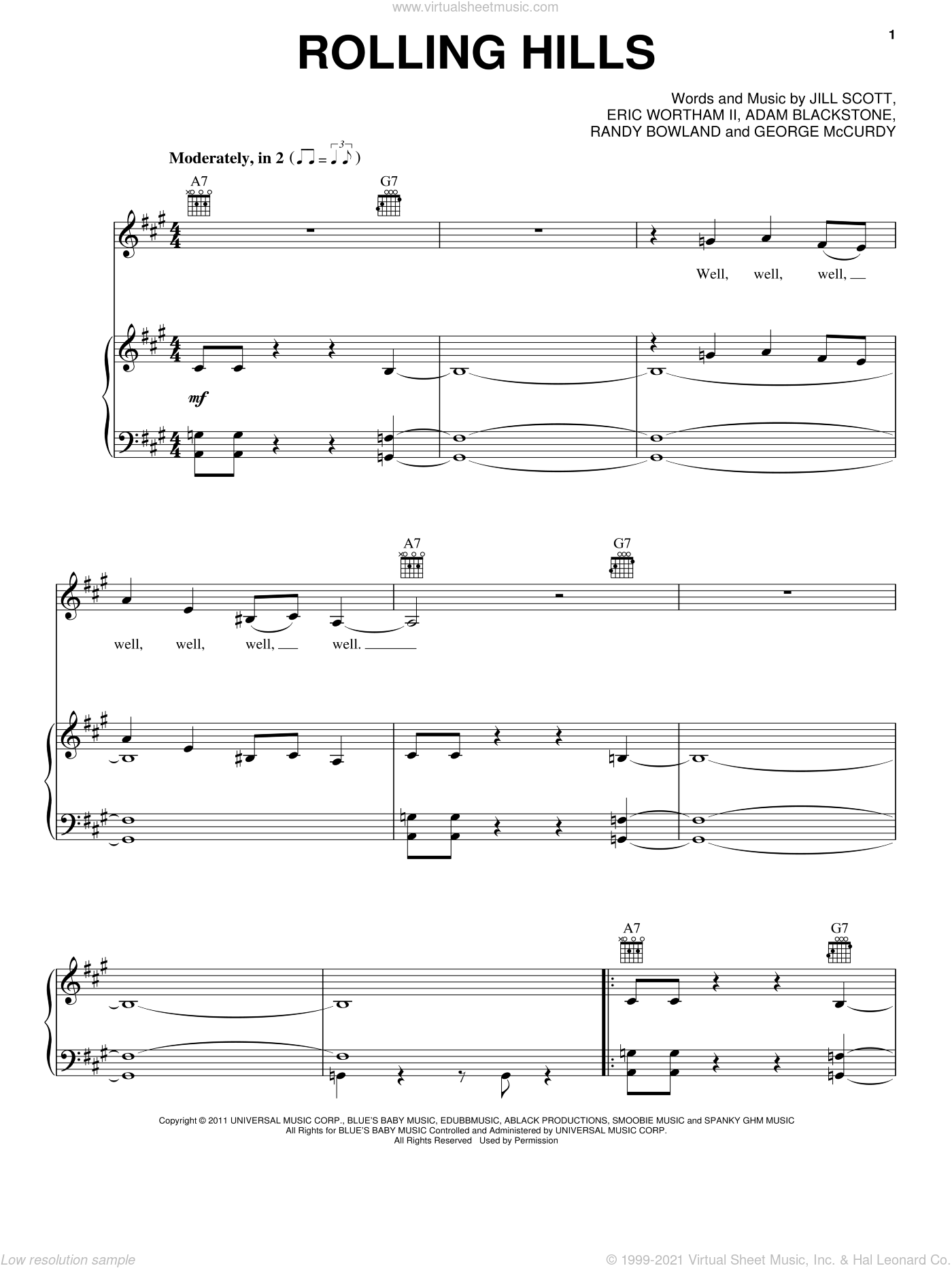 Rolling Hills sheet music for voice, piano or guitar by Jill Scott, Adam Blackstone, Eric Wortham II, George McCurdy and Randy Bowland, intermediate skill level