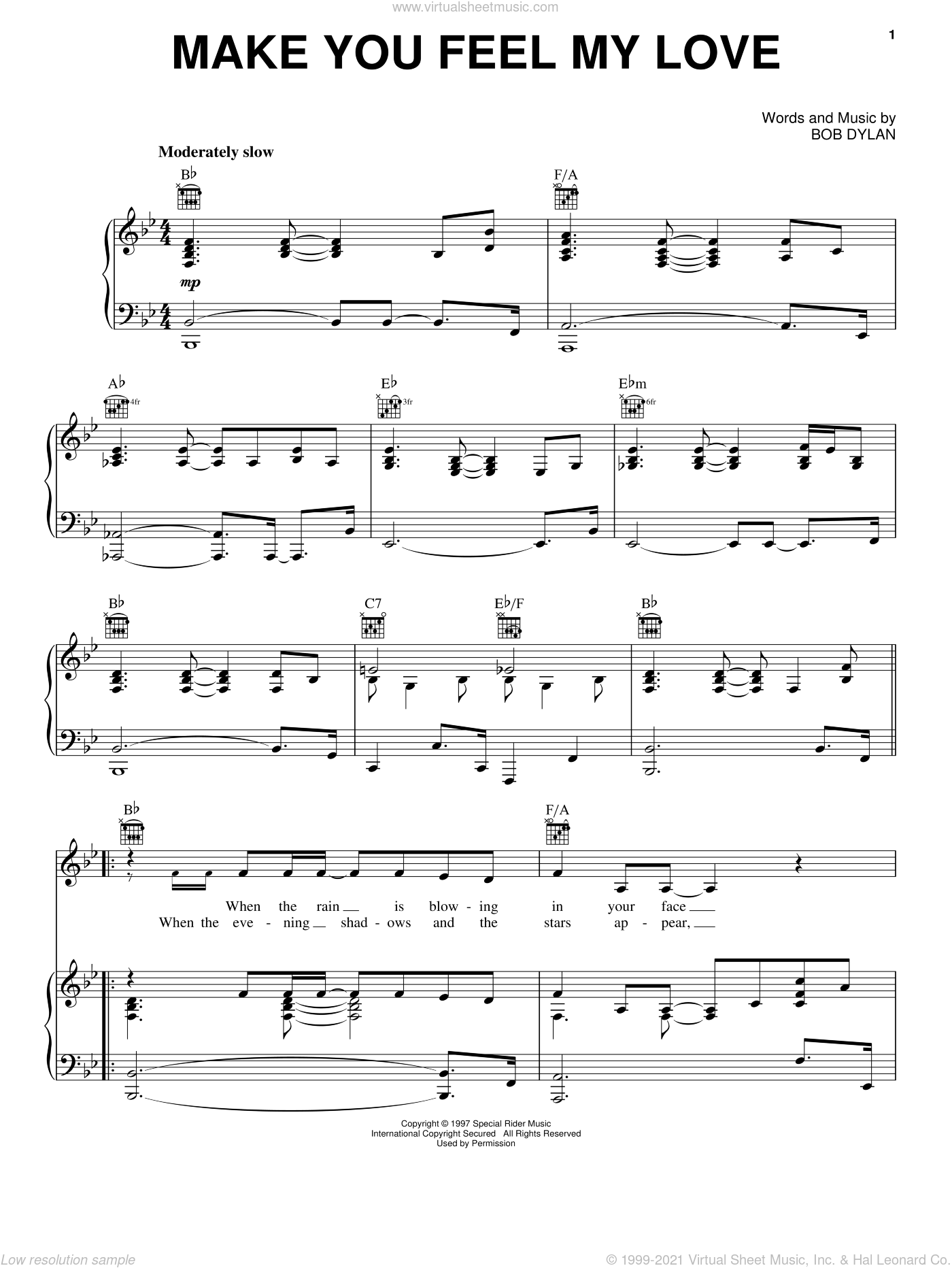 Make You Feel My Love sheet music for voice, piano or guitar by Adele, intermediate skill level