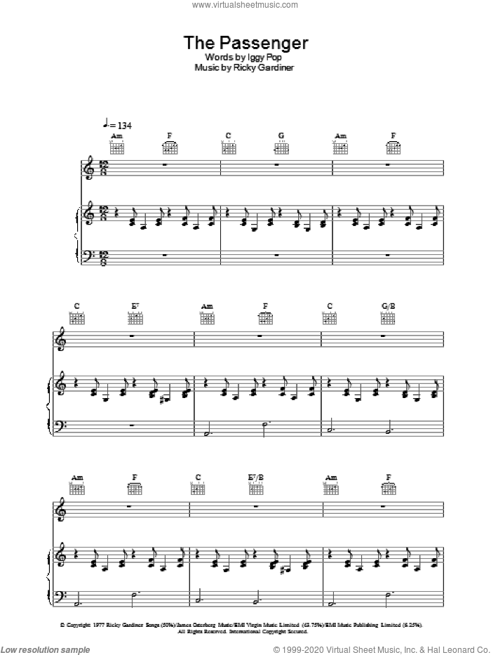 The Passenger sheet music for voice, piano or guitar by Ricky Gardiner and Iggy Pop. Score Image Preview.