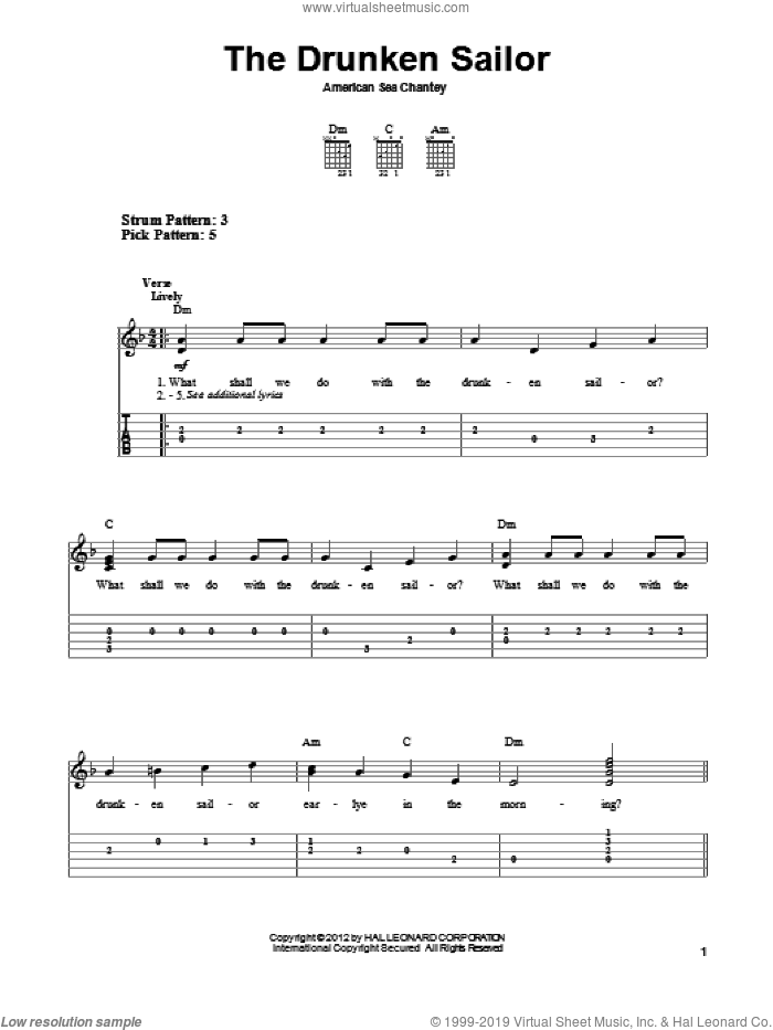 The Drunken Sailor sheet music for guitar solo (easy tablature). Score Image Preview.