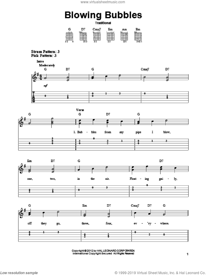 Blowing Bubbles sheet music for guitar solo (easy tablature). Score Image Preview.