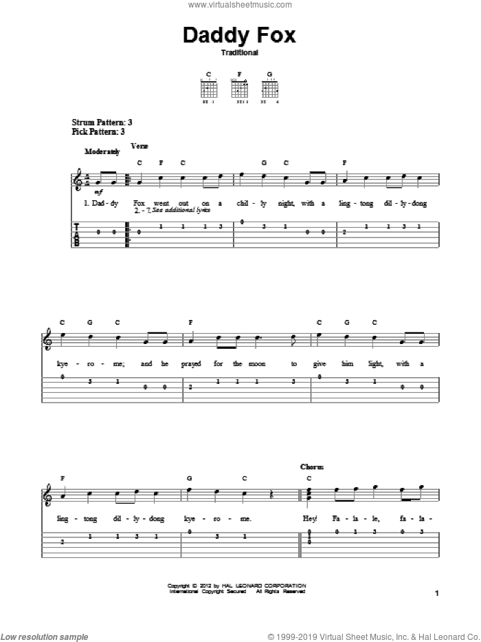 Daddy Fox sheet music for guitar solo (easy tablature). Score Image Preview.