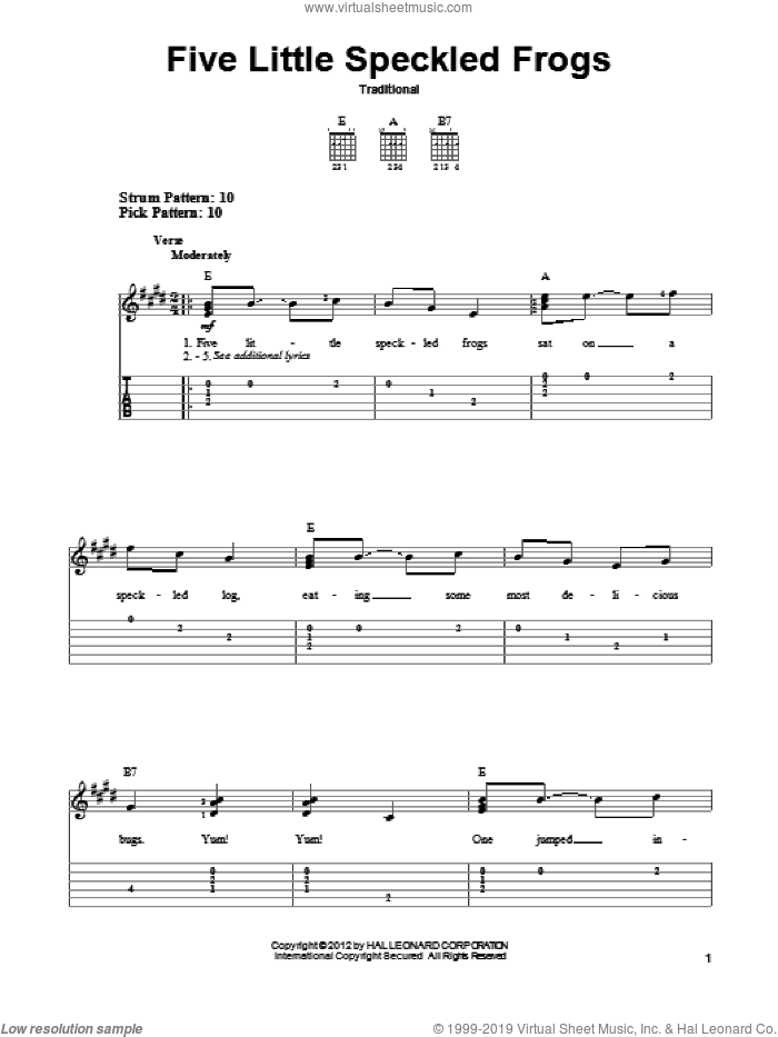 Five Little Speckled Frogs sheet music for guitar solo (easy tablature), easy guitar (easy tablature). Score Image Preview.