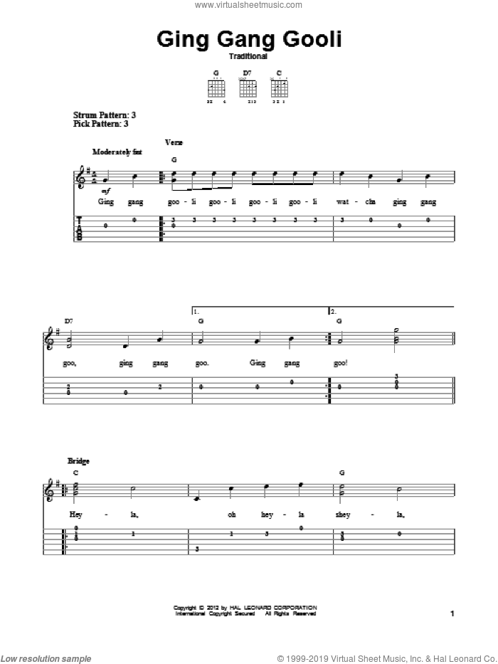Ging Gang Gooli sheet music for guitar solo (easy tablature). Score Image Preview.
