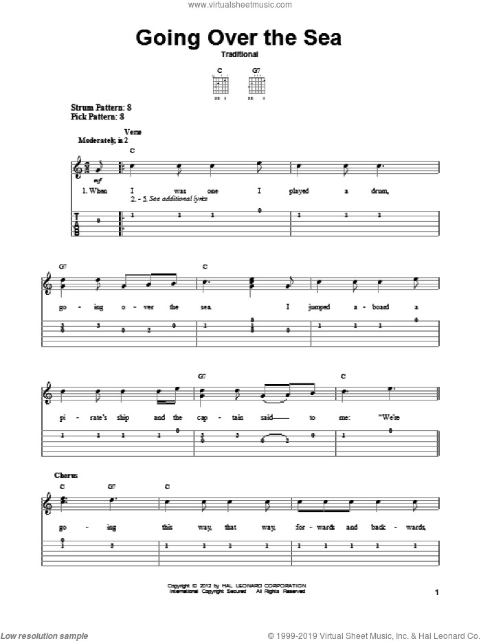 Going Over The Sea sheet music for guitar solo (easy tablature). Score Image Preview.