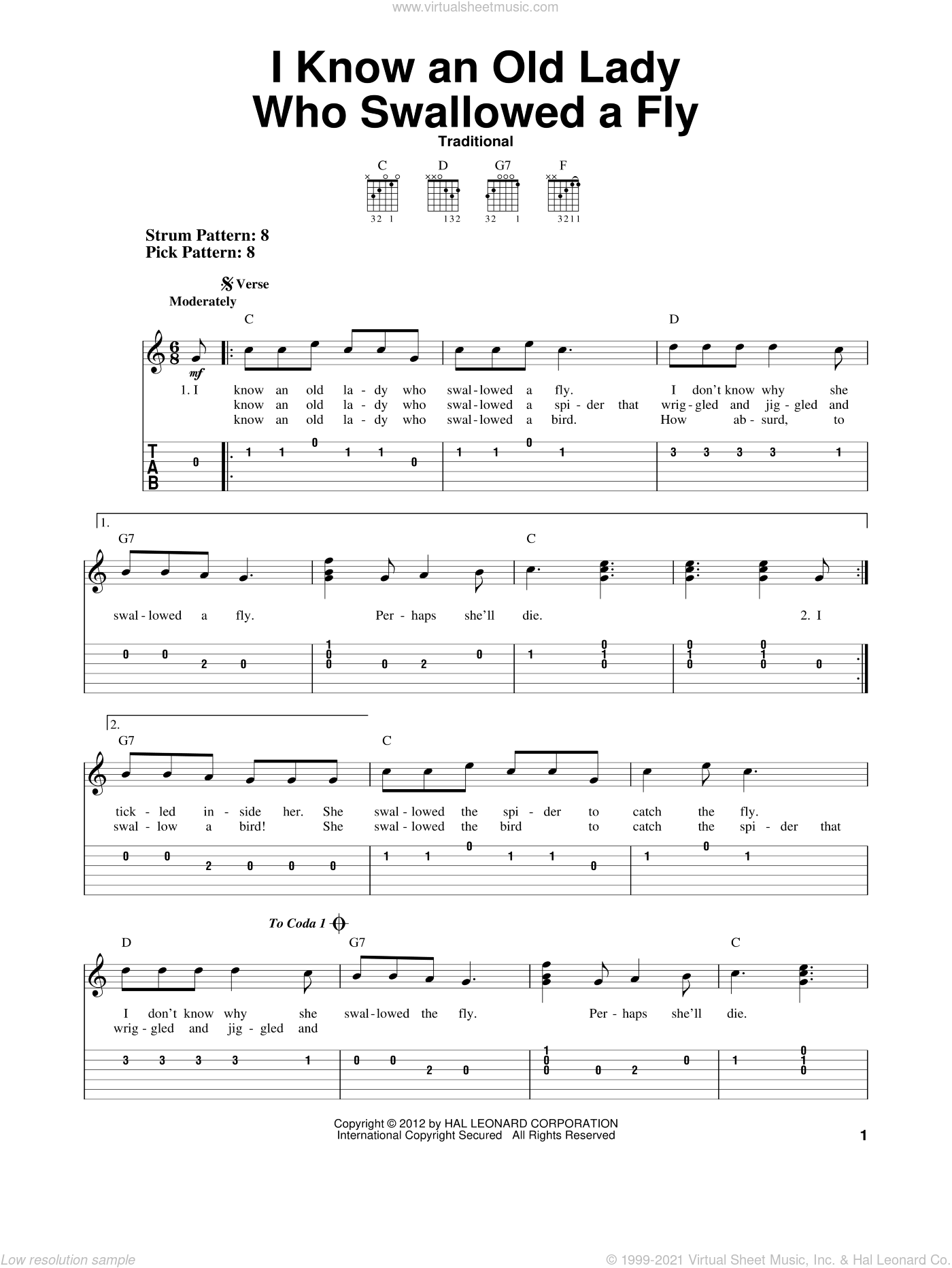 I Know An Old Lady Who Swallowed A Fly sheet music for guitar solo (easy tablature), easy guitar (easy tablature). Score Image Preview.