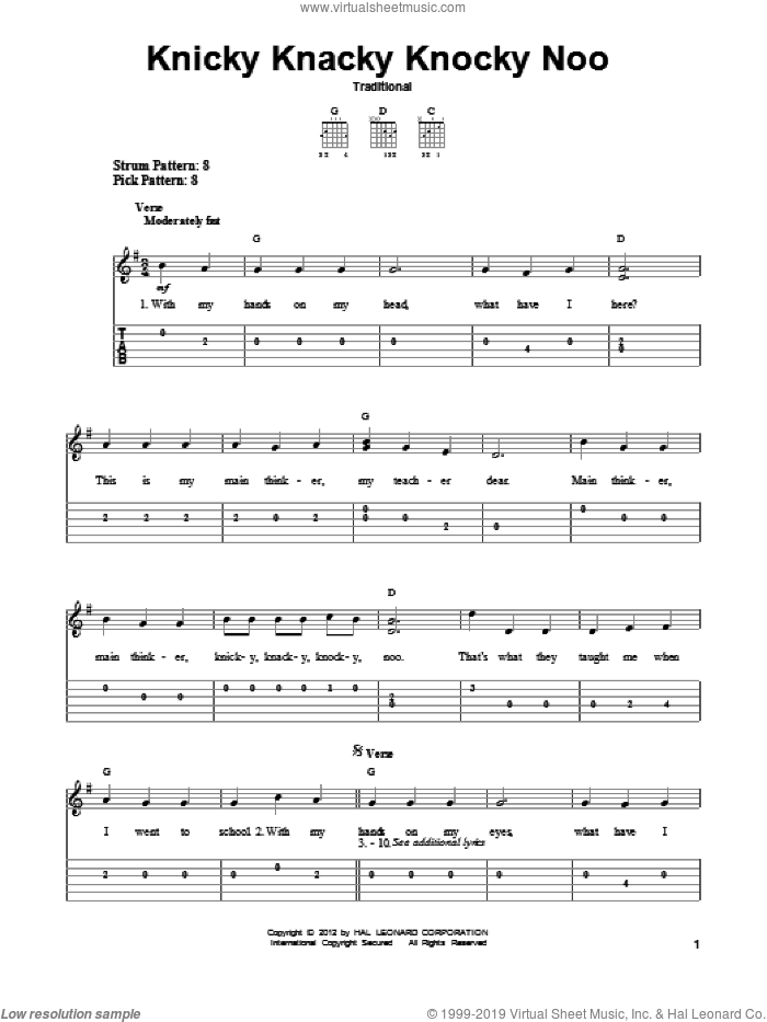 Knicky Knacky Knocky Noo sheet music for guitar solo (easy tablature). Score Image Preview.