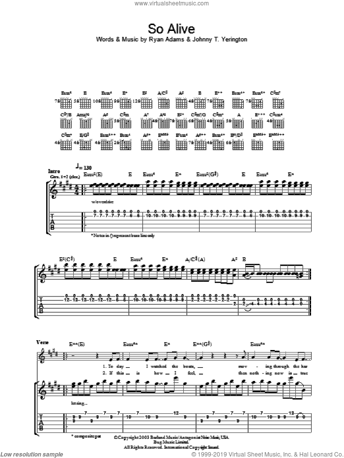 So Alive sheet music for guitar (tablature) by Johnny T. Yerington