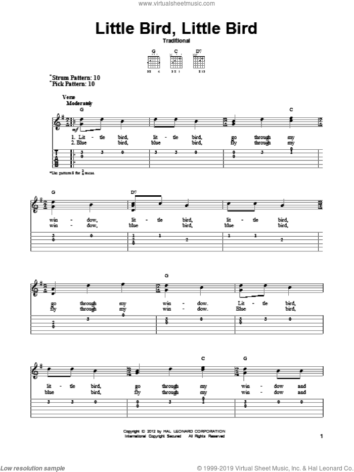 Little Bird, Little Bird sheet music for guitar solo (easy tablature), easy guitar (easy tablature). Score Image Preview.