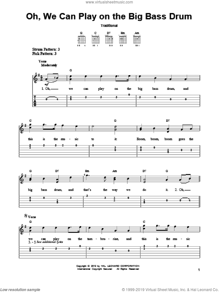 Oh, We Can Play On The Big Bass Drum sheet music for guitar solo (easy tablature), easy guitar (easy tablature)
