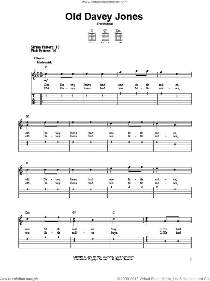 Old Davey Jones sheet music for guitar solo (easy tablature). Score Image Preview.