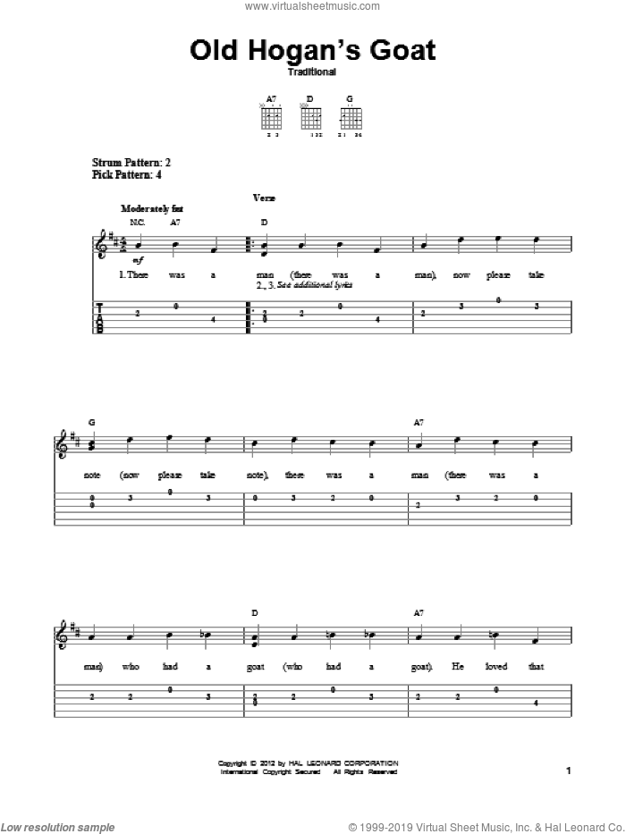 Old Hogan's Goat sheet music for guitar solo (easy tablature), easy guitar (easy tablature)