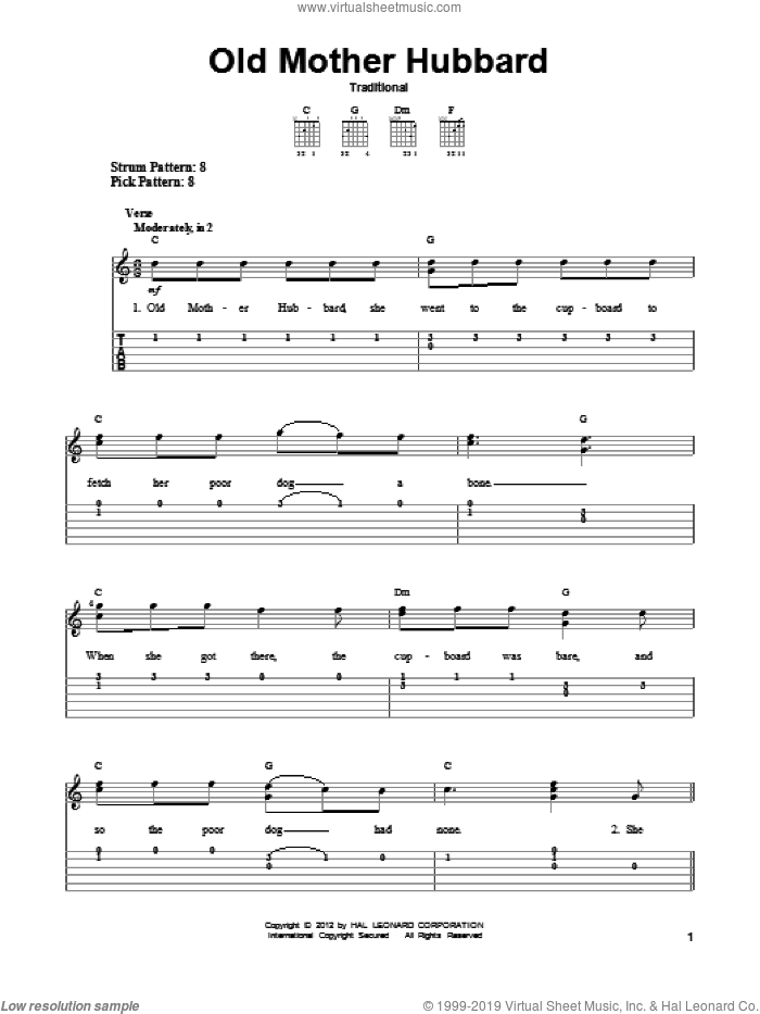 Old Mother Hubbard sheet music for guitar solo (easy tablature), easy guitar (easy tablature)