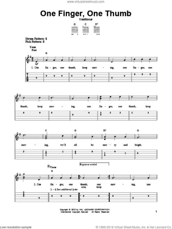 One Finger, One Thumb sheet music for guitar solo (easy tablature). Score Image Preview.