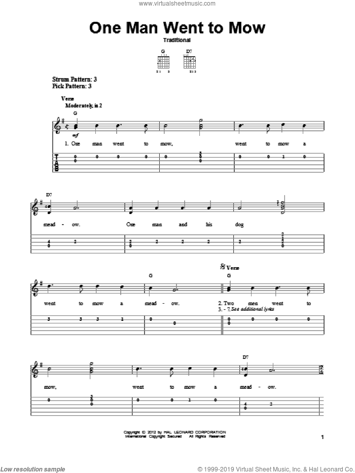 One Man Went To Mow sheet music for guitar solo (easy tablature). Score Image Preview.