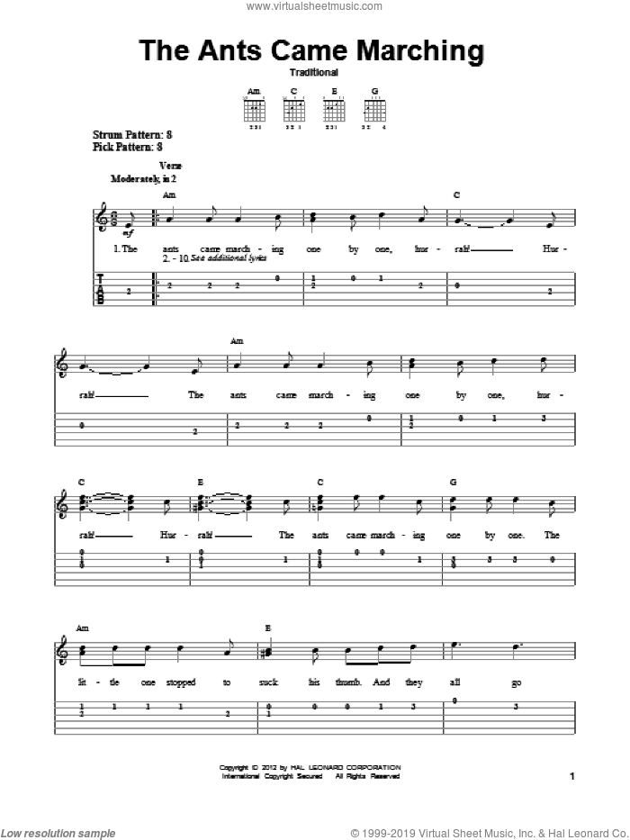 The Ants Came Marching sheet music for guitar solo (easy tablature)