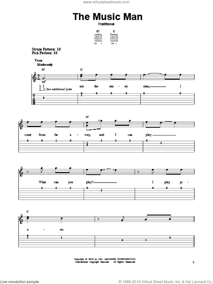 The Music Man sheet music for guitar solo (easy tablature). Score Image Preview.