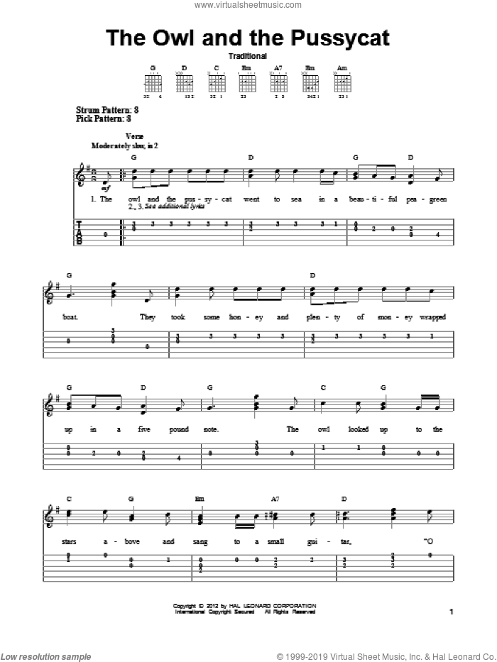 The Owl And The Pussycat sheet music for guitar solo (easy tablature), easy guitar (easy tablature). Score Image Preview.