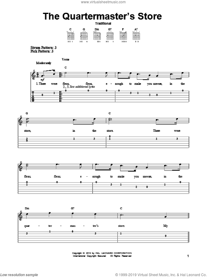 The Quartermaster's Store sheet music for guitar solo (easy tablature). Score Image Preview.