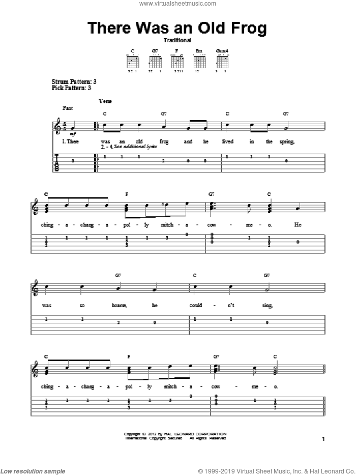 There Was An Old Frog sheet music for guitar solo (easy tablature)