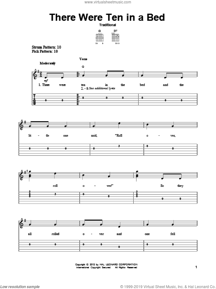 There Were Ten In A Bed sheet music for guitar solo (easy tablature), easy guitar (easy tablature). Score Image Preview.