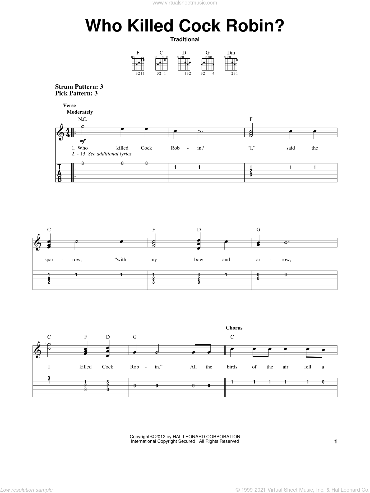 Who Killed Cock Robin? sheet music for guitar solo (easy tablature). Score Image Preview.