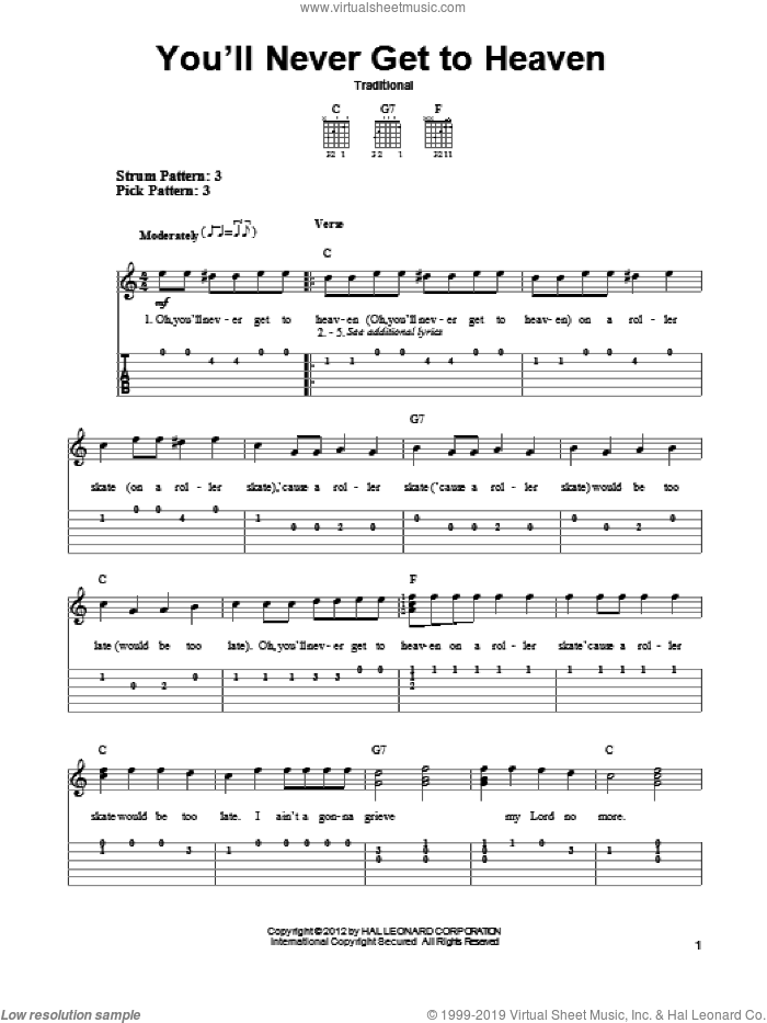 You'll Never Get To Heaven sheet music for guitar solo (easy tablature). Score Image Preview.