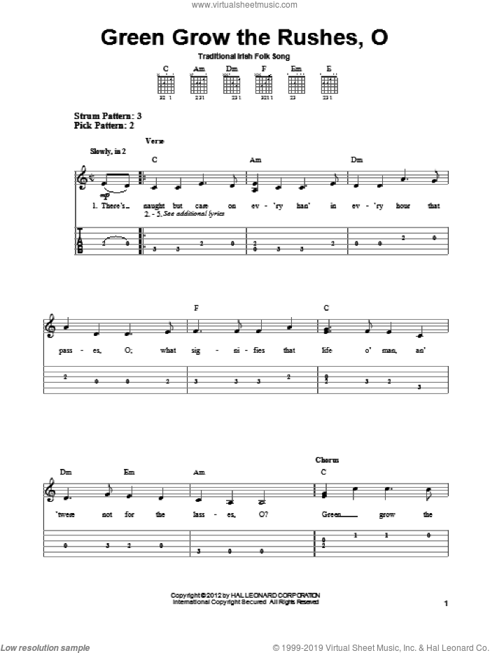 Green Grow The Rushes, O sheet music for guitar solo (easy tablature), easy guitar (easy tablature)