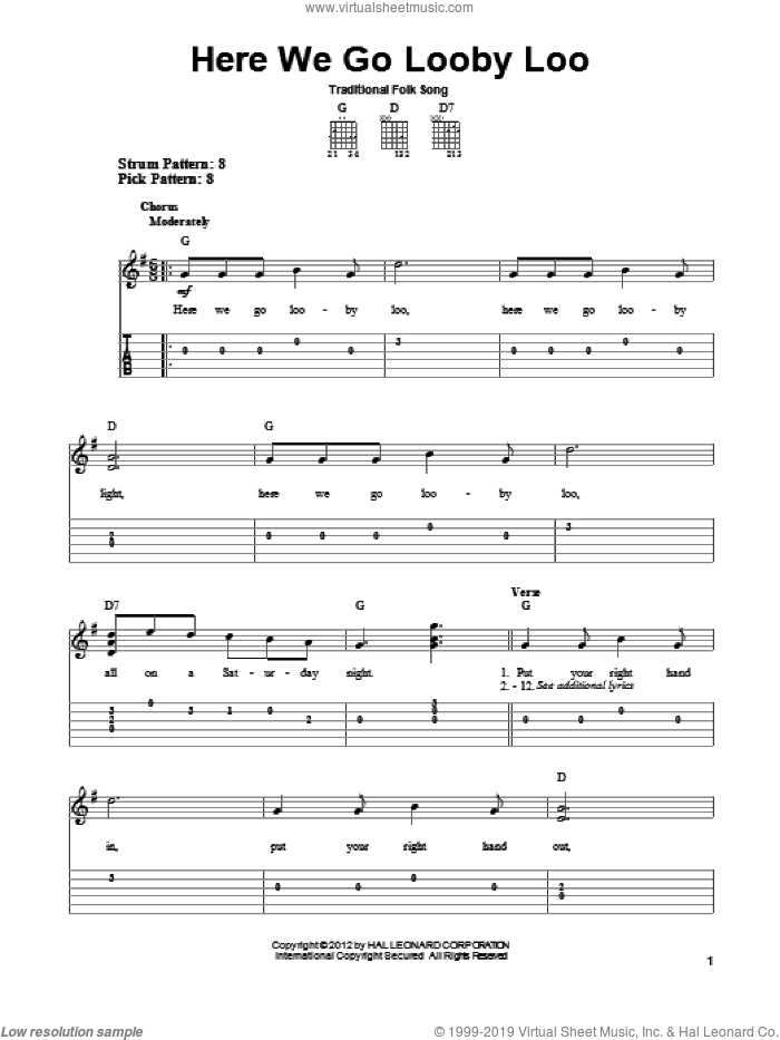 Here We Go Looby Loo sheet music for guitar solo (easy tablature) by Traditional Folk Song, easy guitar (easy tablature)