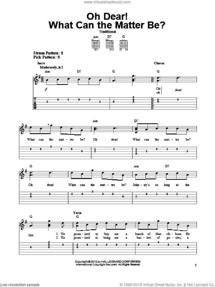 Oh Dear! What Can The Matter Be? sheet music for guitar solo (easy tablature), easy guitar (easy tablature)