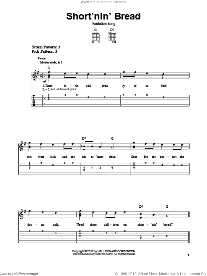Short'nin' Bread sheet music for guitar solo (easy tablature). Score Image Preview.