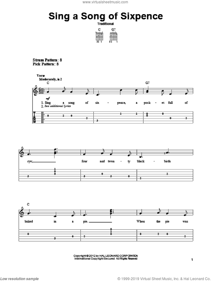 Sing A Song Of Sixpence sheet music for guitar solo (easy tablature). Score Image Preview.