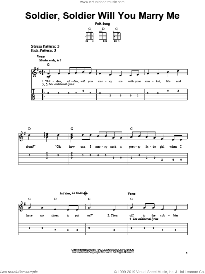 Soldier, Soldier Will You Marry Me sheet music for guitar solo (easy tablature), easy guitar (easy tablature). Score Image Preview.