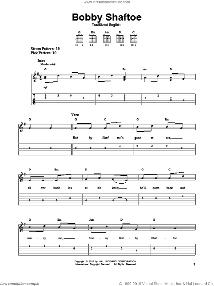 Bobby Shaftoe sheet music for guitar solo (easy tablature). Score Image Preview.