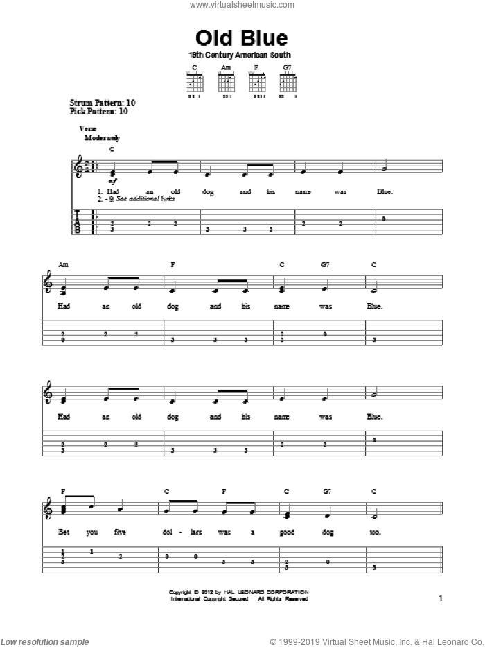 Old Blue sheet music for guitar solo (easy tablature), easy guitar (easy tablature)