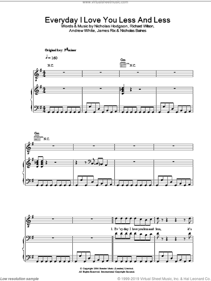 Everyday I Love You Less And Less sheet music for voice, piano or guitar by Kaiser Chiefs, Andrew White, James Rix, Nicholas Baines, Nicholas Hodgson and Richard Wilson, intermediate. Score Image Preview.